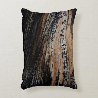 Burnt Tree Bark Texture Accent Pillow