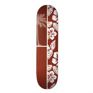 Burnt Umber Tropical Hibiscus; Summer Palm Skateboard Deck