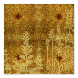 Burnt Yellow Flowers Background Perfect Poster