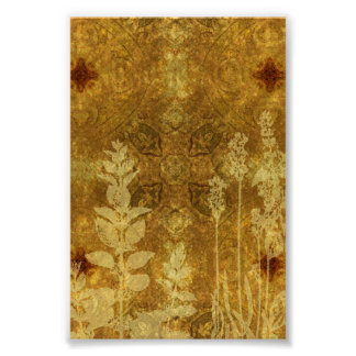 Burnt Yellow Flowers Background Poster
