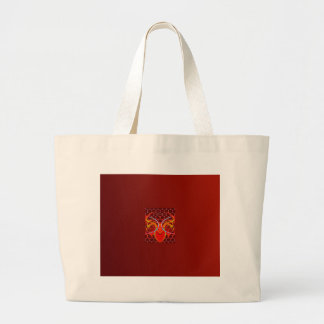 BURNTORANGE0CTOPUS ART LARGE TOTE BAG
