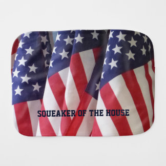 Burp Cloth, American Flags, Squeaker of the House Burp Cloth
