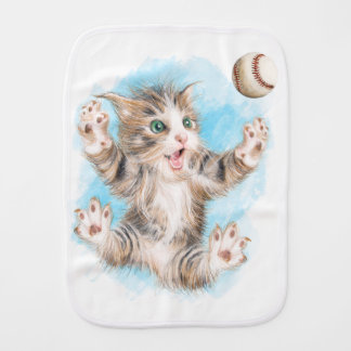 Burp Cloth with Playful Kitty