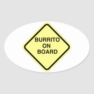 Burrito On Board Oval Sticker