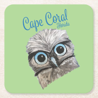 Burrowing Owl Coastal Art Cape Coral Florida Square Paper Coaster