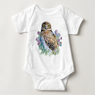 Burrowing owl in lavender t shirts