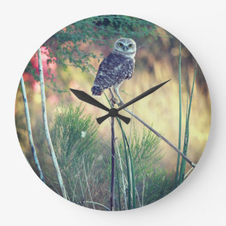 Burrowing Owl Perched Round Clock