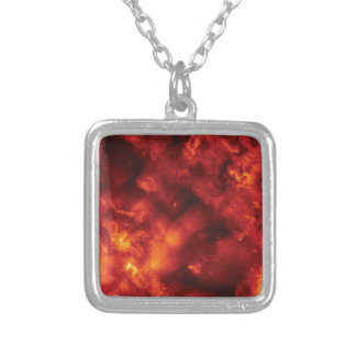 burst of flame silver plated necklace
