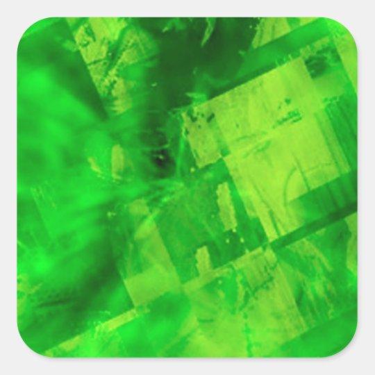 Burst of Green Square Sticker