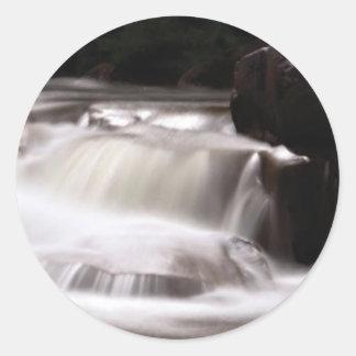 burst of water in creek classic round sticker
