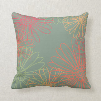 Bursting Daisies Floral Pattern Throw Pillow
