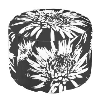 Bursting Joy l Black and White Abstract Floral Art Pouf