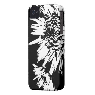 Bursting Joy l Black and White Floral Abstract iPhone 4 Case