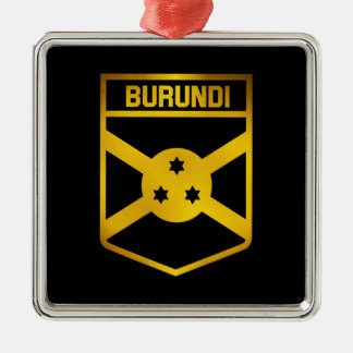 Burundi Emblem Silver-Colored Square Ornament