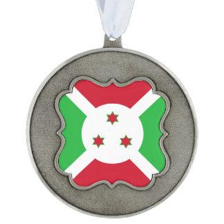 Burundi Flag Scalloped Pewter Ornament
