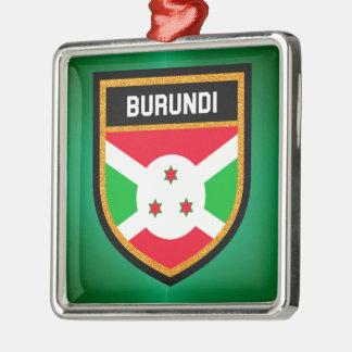Burundi Flag Silver-Colored Square Ornament