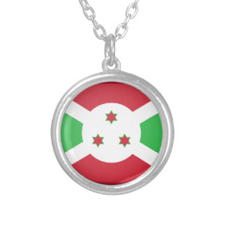 Burundi Flag Silver Plated Necklace
