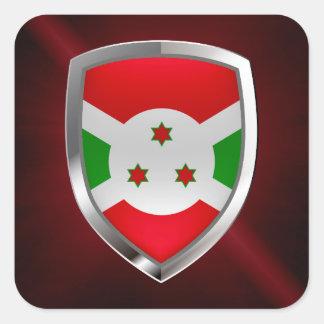 Burundi Mettalic Emblem Square Sticker