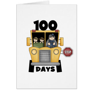 Bus 100 Days of School t-shirts and Gifts Greeting Card