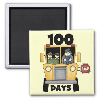 Bus 100 Days of School t-shirts and Gifts Refrigerator Magnets