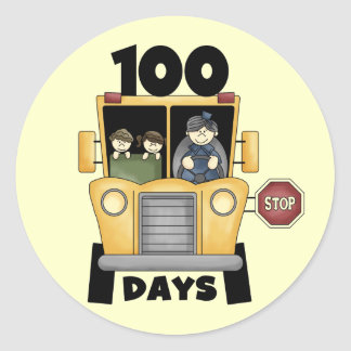 Bus 100 Days of School t-shirts and Gifts Round Sticker