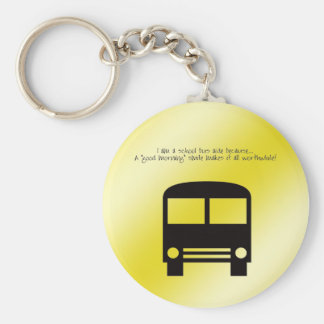 Bus Aide A Good Morning Smile Black Bus Basic Round Button Keychain