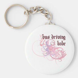 Bus Babe Basic Round Button Keychain