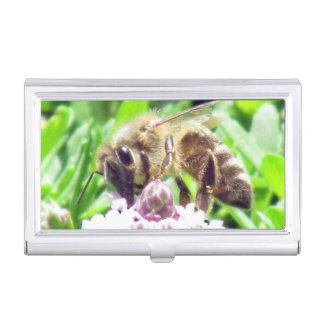 Bus. Card Holder - Honey Bee on Clover