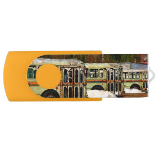 Bus Cemetery Swivel USB 2.0 Flash Drive
