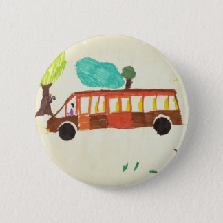 bus drawing by kid badge 2 inch round button