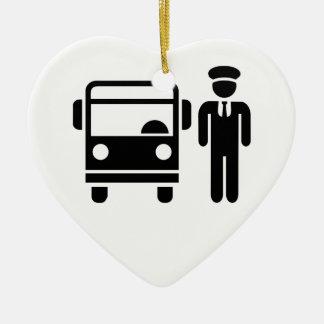 Bus driver ceramic heart ornament