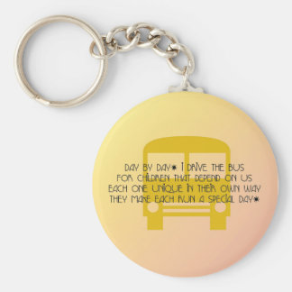 Bus Driver Day By Day Yellow Bus Basic Round Button Keychain