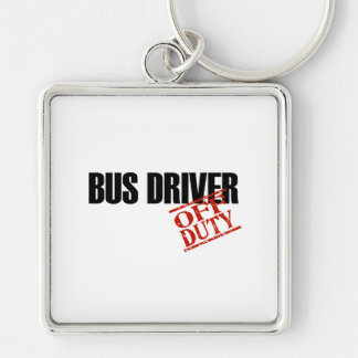 BUS DRIVER LIGHT Silver-Colored SQUARE KEYCHAIN