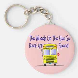 """Bus Driver """"The Wheels on the Bus"""" Basic Round Button Keychain"""