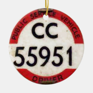 BUS DRIVER UK BADGE RETRO CERAMIC ORNAMENT