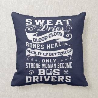 Bus Driver Woman Throw Pillow