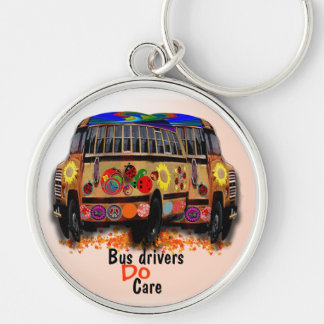 Bus Drivers Do Care Silver-Colored Round Keychain
