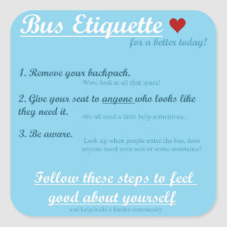 Bus Etiquette Sticker