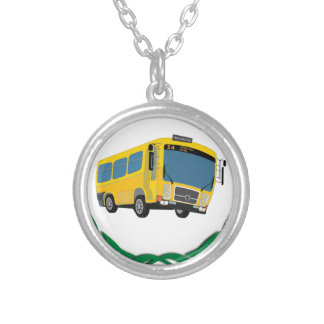bus in green silver plated necklace