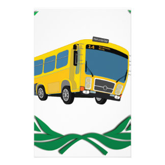 bus in green stationery