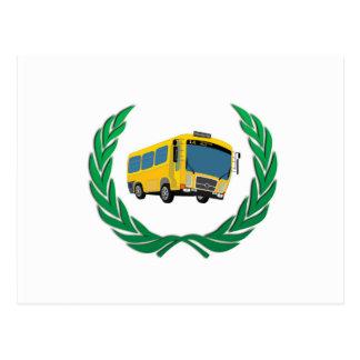bus in wreath postcard
