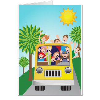Bus Riding People Cartoon Greeting Card