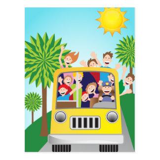 Bus Riding People Cartoon Postcard