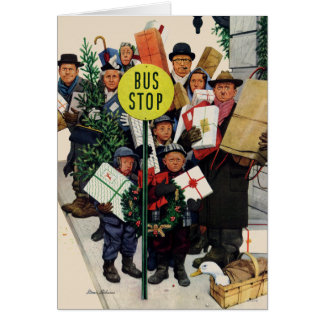 Bus Stop at Christmas Card