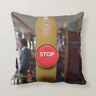 Bus stop button throw cushion