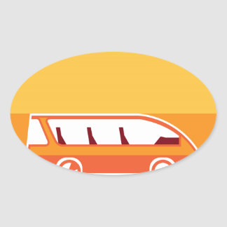 Bus vector oval sticker