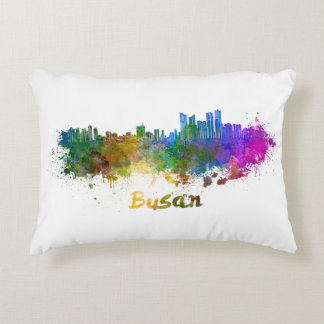 Busan skyline in watercolor accent pillow