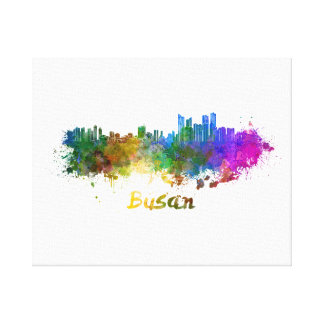 Busan skyline in watercolor canvas print