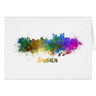 Busan skyline in watercolor card