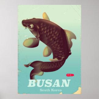 Busan South Korean vintage style travel poster